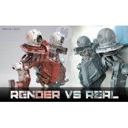Comparison: photorealistic 3D rendering vs real painted model