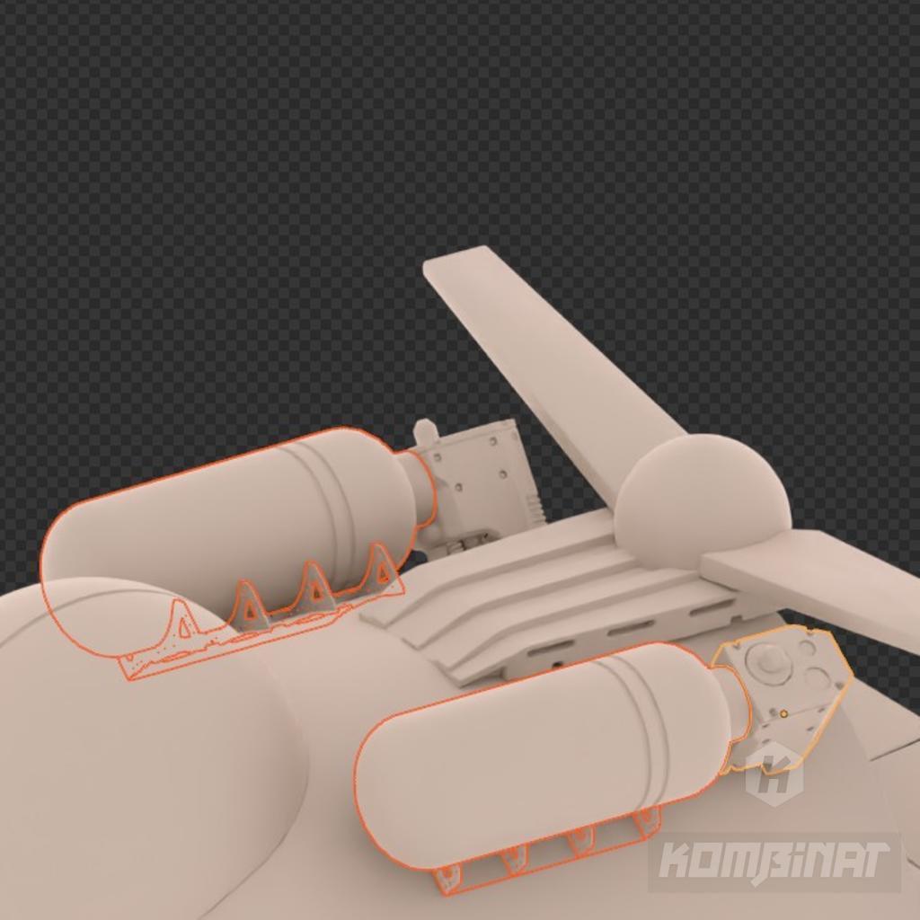 Sci-fi military mecha drone resin kit work in progress: tanks with equipment